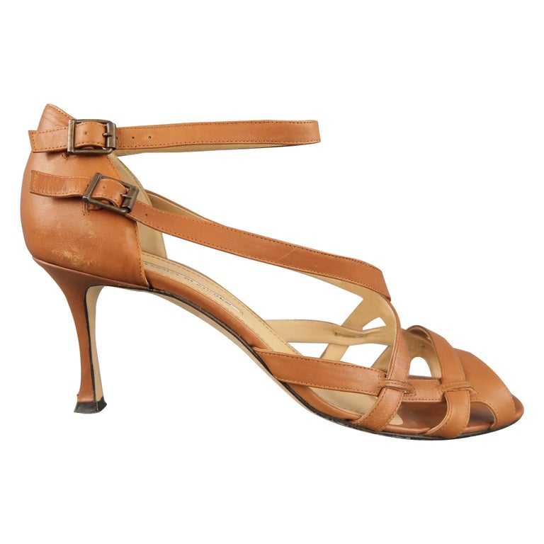 20b03b0a8dcb MANOLO BLAHNIK Size 12 Brown Leather Cross Ankle Strap Peep Toe Sandals For Sale  at 1stdibs