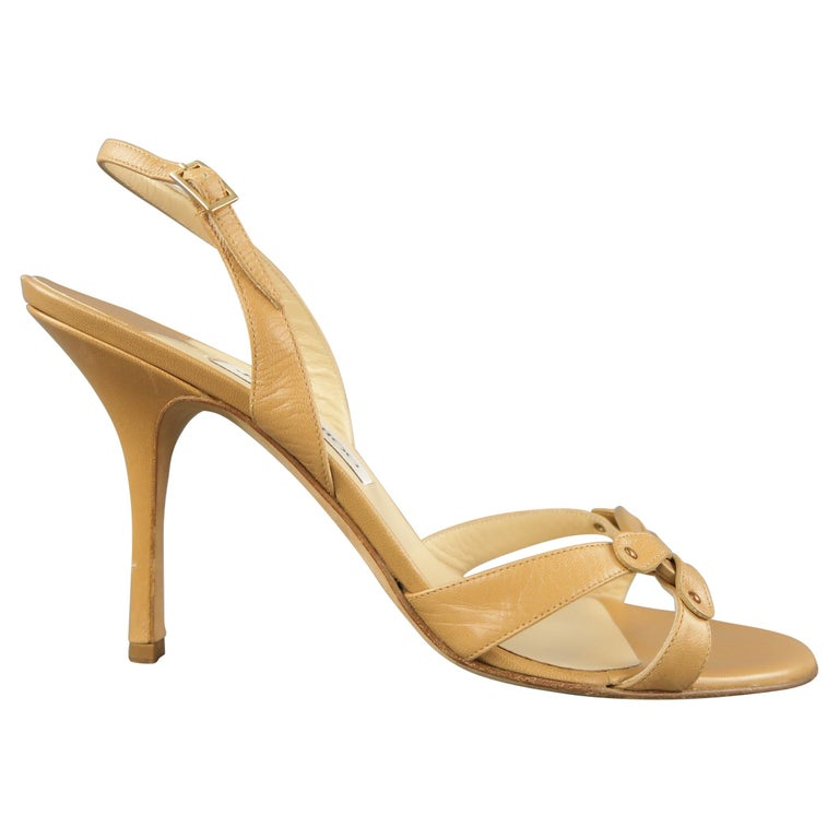 JIMMY CHOO Size 12 Tan Leather Hoop Strap Slingback Sandals For Sale