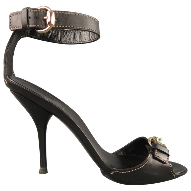 87455908399 GUCCI Size 12 Black Leather Ankle Strap Gold Buckle Sandals For Sale ...