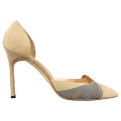 MANOLO BLAHNIK Size 12 Beige Suede Tan And Gray Toe Pumps
