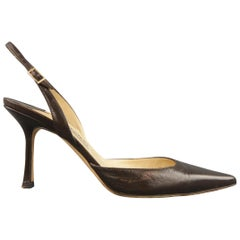 JIMMY CHOO Size 12 Brown Leather Pointed Slingback Pumps