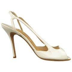 MANOLO BLAHNIK Size 12 White Patent Leather Peep Toe Slingback Pumps