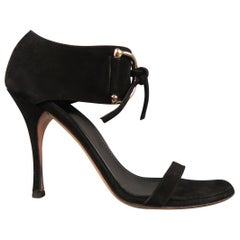GUCCI Size 10 Black Suede Thick Gold D Loops Tied Ankle Strap Sandals