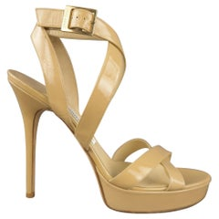 JIMMY CHOO Size 12 Beige Patent Leather Strappy Platform Sandals
