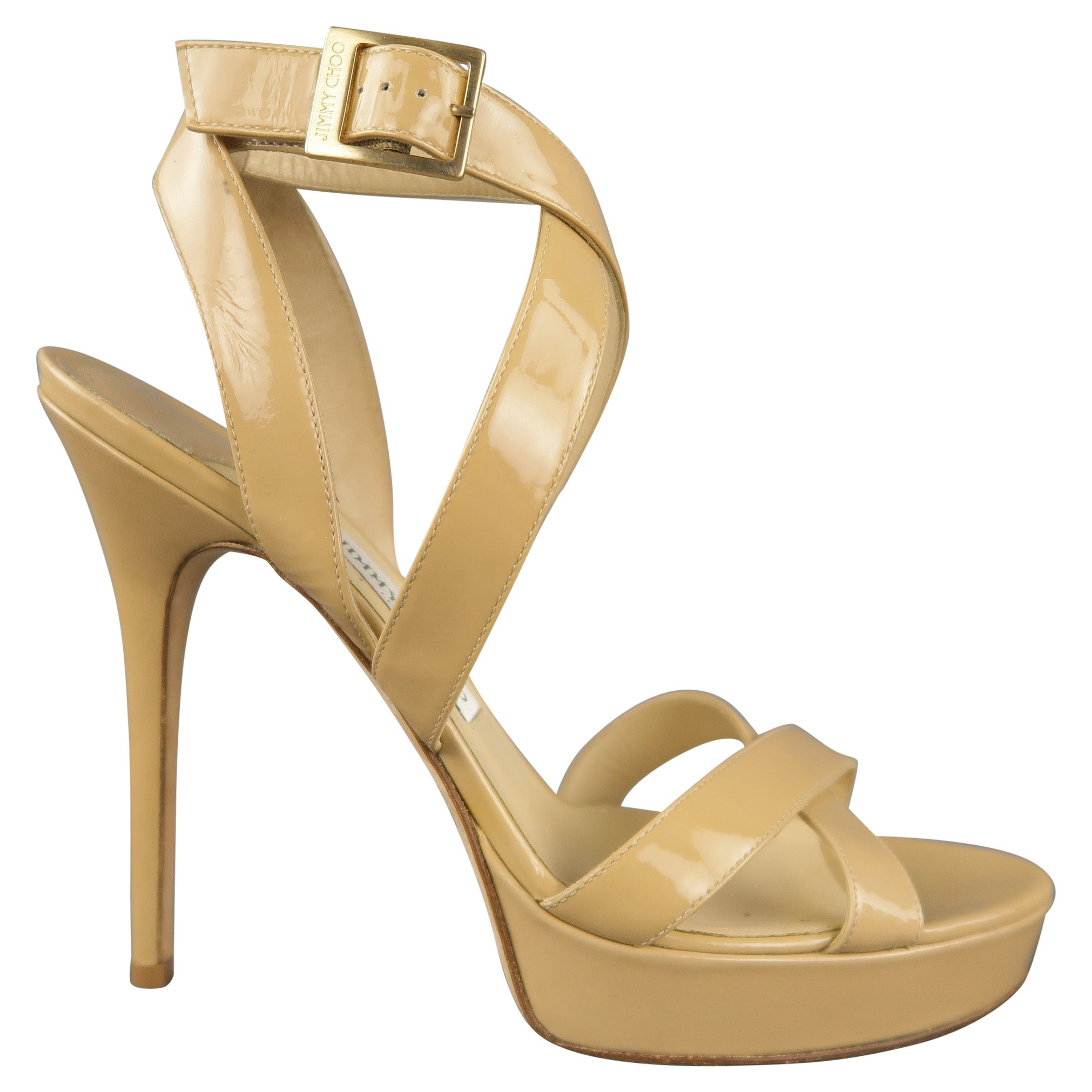 a46b7b8143 JIMMY CHOO Size 12 Beige Patent Leather Strappy Platform Sandals at 1stdibs