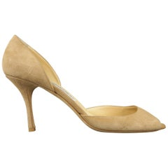 JIMMY CHOO Size 12 Tan Beige Leather Cutout Toe Pointed Pumps