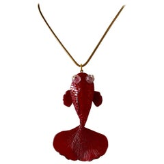 Red Koi Fish Statement Pendant Necklace