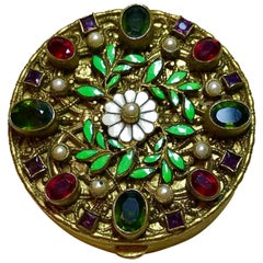 Circa 1920s Austrian Jeweled and Enameled Powder Compact