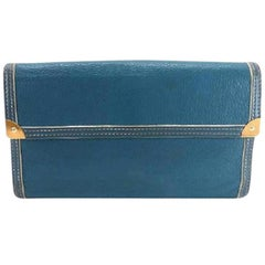 Louis Vuitton Blue Suhali Leather Long Bifold Sarah 218872 Wallet