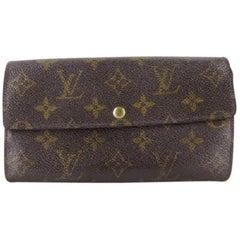 c0856834445f Louis Vuitton Brown Porte Tresor Monogram Bifold Long Sarah 217986 Wallet