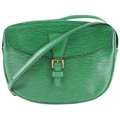 Louis Vuitton Jeune Fille 819lt2 Green Leather Cross Body Bag