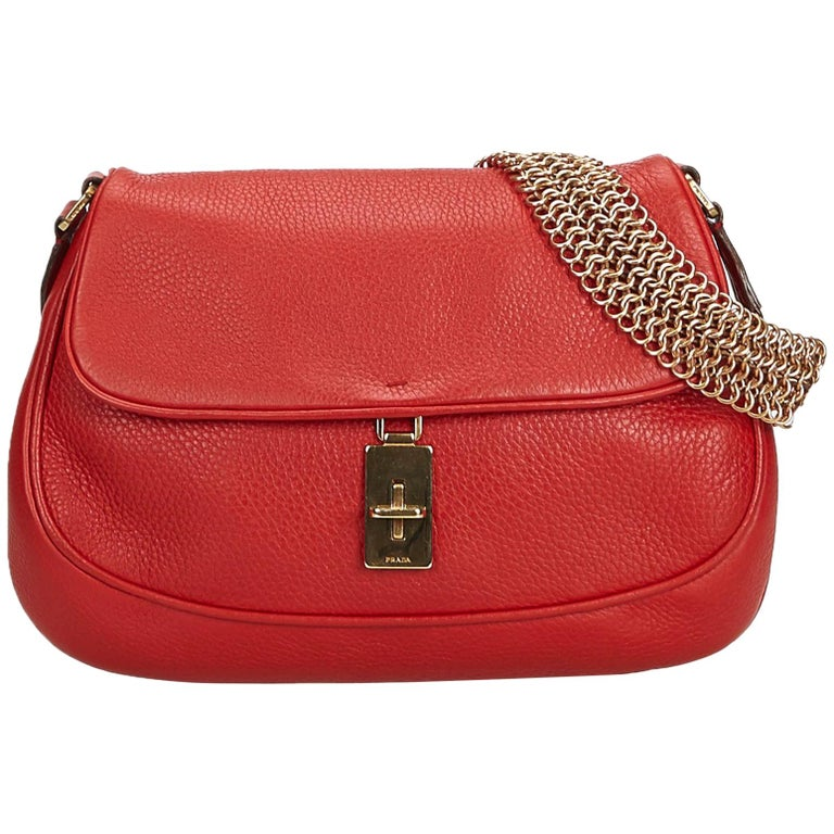 f2a7ff6ec136 Prada Red Leather Chain Baguette For Sale at 1stdibs