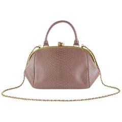 Chanel Boy Python Large Retro Donna Bowling 6ccdg8917 Mauve Leather Shoulder Bag