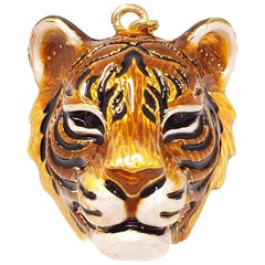 "Jay Strongwater ""Delightful"" Enamel Tiger Head Charm in Gold"