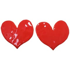 Oscar de la Renta Painted Red Heart Clip On Earrings, Goldtone