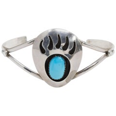 Native American Bear Claw Sterling Silver Tapered Cuff Bracelet with Turquoise