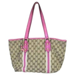 Gucci Web Stripe Charm 220579 Pink Coated Canvas Tote