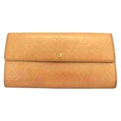 Louis Vuitton Dark Beige Mat Vernis Monogram Sarah Bifold Long 220241 Wallet