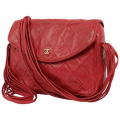 Chanel Classic Flap Strand Square Mini 221924 Red Leather Shoulder Bag