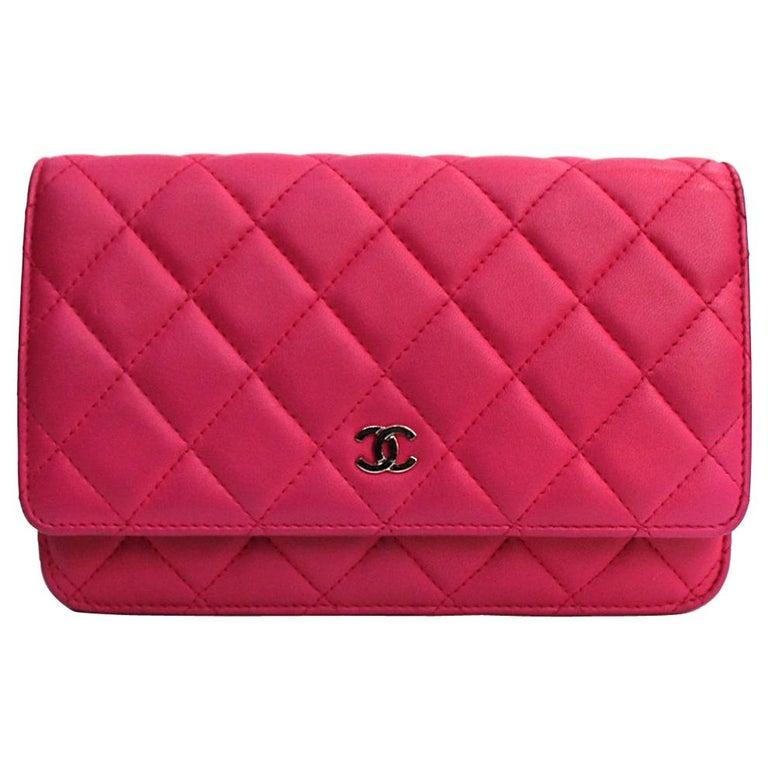 Chanel Fuchsia Leather Woc Bag For Sale
