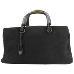 Gucci Boston Rare Handle Duffle 223187 Black Canvas Satchel