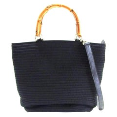 Gucci Quilted Bamboo 2way 223066 Black Nylon Tote