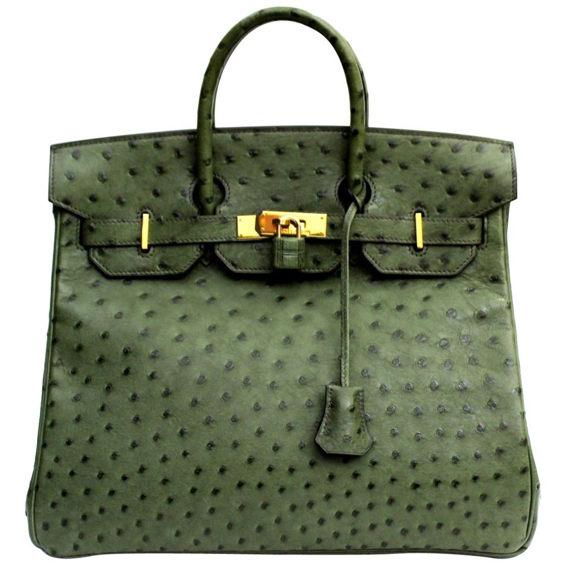 Hermes 30 cm Green Leather Birkin Bag