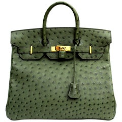 Hermes 30 cm Green Leather Birkin Bag