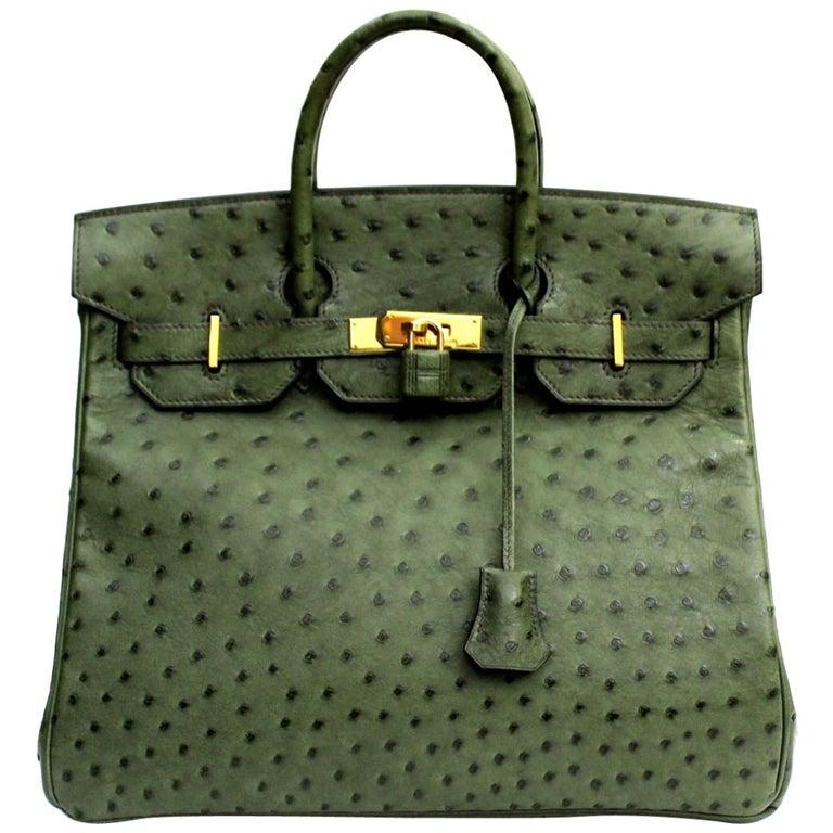 Hermes 30 cm Green Leather Birkin Bag For Sale