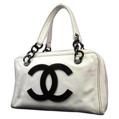 Chanel Cc Logo Jumbo Boston 221154 White X Black Caviar Leather Satchel