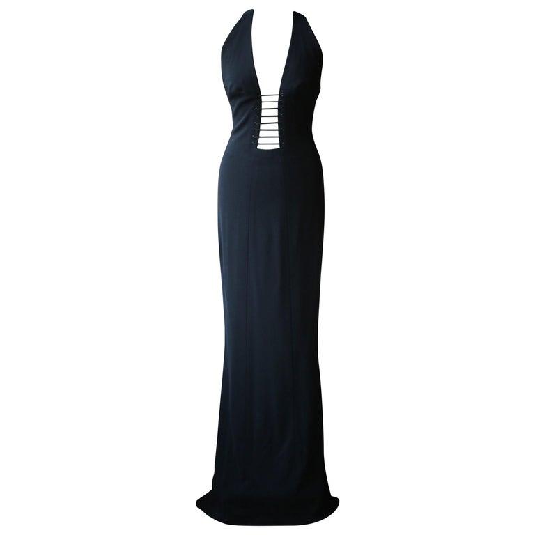 Azzedine Alaïa Haute Couture Cutout Lace-Up Gown  For Sale
