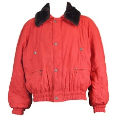 Oliver by Valentino Men's Vintage Red Quilted Bomber Jacket Coat, 1980s