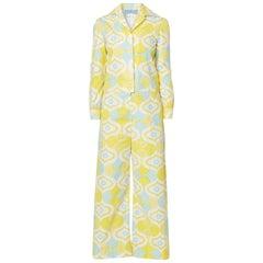 Twiggy yellow & blue print jumpsuit, circa 1967