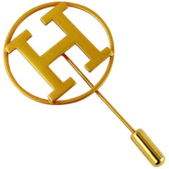 Hermes Vintage Gold Toned H Lapel Pin Brooch
