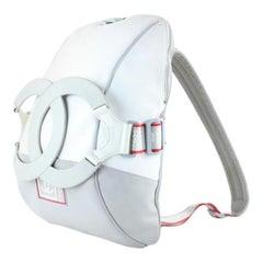 Chanel Backpack (Ultra Rare) Xl Cc Logo Sport 222313 White X Grey Backpack