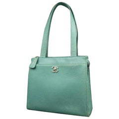 Chanel Caviar Turnlock Tote 223152 Mint Green Leather Shoulder Bag