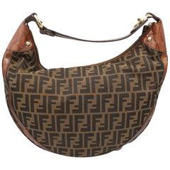 Fendi Zucca Monogram and Embossed Leather  Half Moon Bag