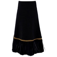 Dolce & Gabbana Wool and Feather Trim Midi Skirt US 6