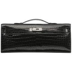 Hermès Kelly Shiny Porosus Crocodile with Diamonds Black Clutch