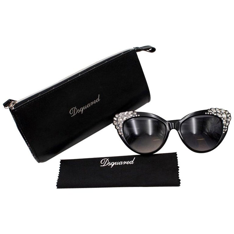 2df3f070dd DSquared2 Rhinestone Encrusted Cat-Eye Sunglasses For Sale at 1stdibs