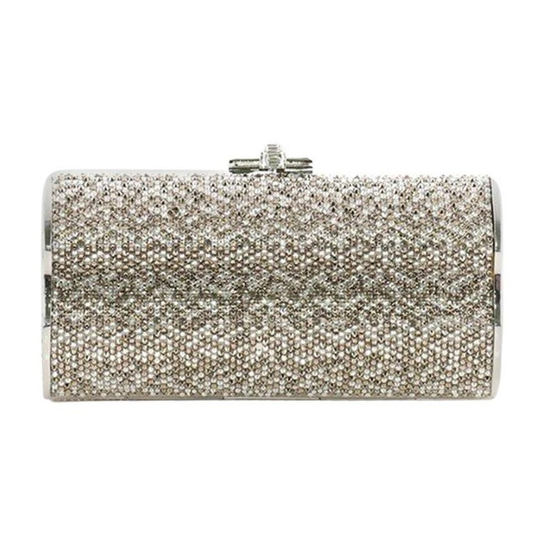 Judith Leiber Chain Minaudiere Box Clutch Crystal Long For Sale