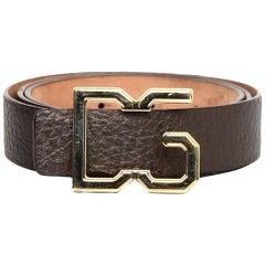 Dolce & Gabbana Brown Leather Belt W/ DG Logo Buckle Sz 85