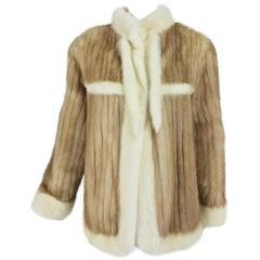 Honey Mink trimmed in white mink 1970s jacket