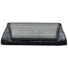 Saint Laurant Black Python Punk Chain Embellished Clutch Bag