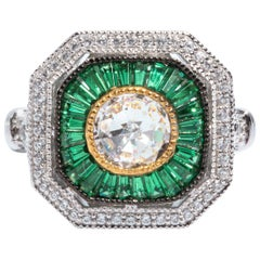 Art Deco Style  Cubic Zirconia Synthetic Emerald Sterling Ring