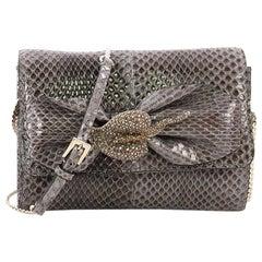 Valentino Crystal Brooch Crossbody Bag Python Mini