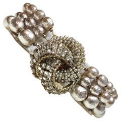 Miriam Haskell Baroque Faux-Pearl and Rhinestone Bracelet