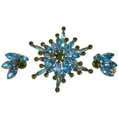 Hattie Carnegie Blue and Green Brooch and Earring Set, Circa 1960