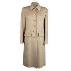 Hermes Cashmere Coat Neutral Vintage Single Breast 42 / 8