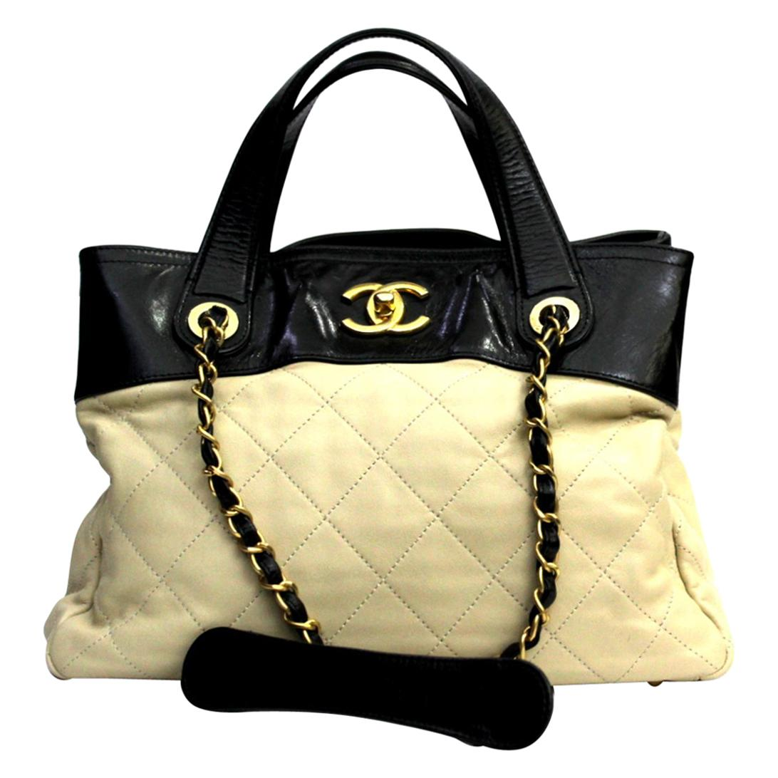 CHANEL  Ivory Leather  Shopping Tote.